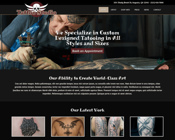 tattoostudio1 Webdesign Vorlagen